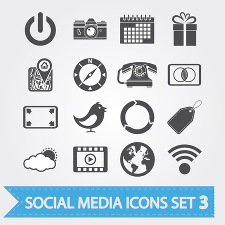 calendar icons: Social media related icons for your design or application