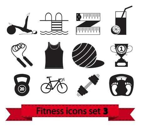 pilates ball: Professiona fitnessl icons Illustration