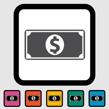 Dollar icon, black silhouette  Vector illustration EPS 8  Vector
