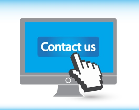 Contact us Button with Hand Cursor amd monitor Vector