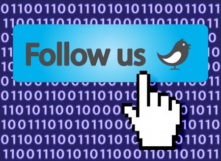 Follow Us Button with Hand Cursor and bird Stock Vector - 15831602