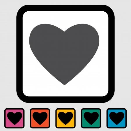 Heart icon, black silhouette Stock Vector - 15831590