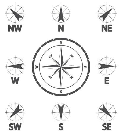 rosa dei venti: Bussola rosa dei venti icona del vento Vettoriali