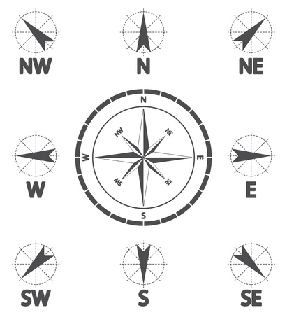 northwest: Compass wind rose  Wind icon Illustration