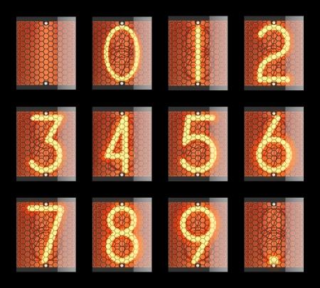 Nixie-Anzeige Die Anzahl der retro Vektorgrafik