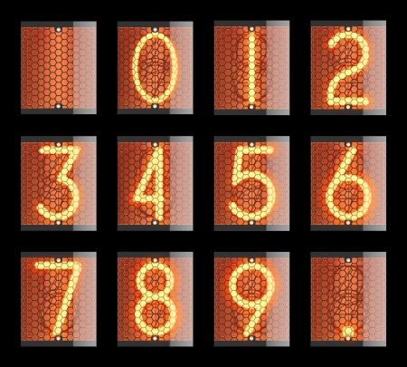 scoreboard: Nixie tube indicator  The number of retro Illustration