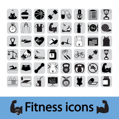 nutrition and health: Professiona fitnessl icons for your website Illustration