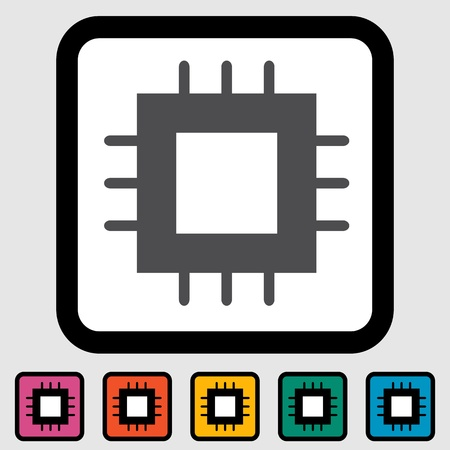 electrical part: Electronic chip icon illustration
