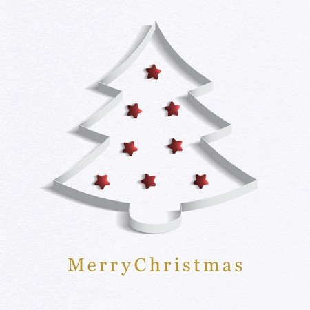 Christmas tree made   of white paper with a red star Stock Vector - 16665040