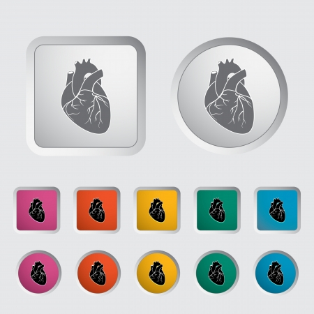 Heart icon, black silhouette   illustration Stock Vector - 16748644