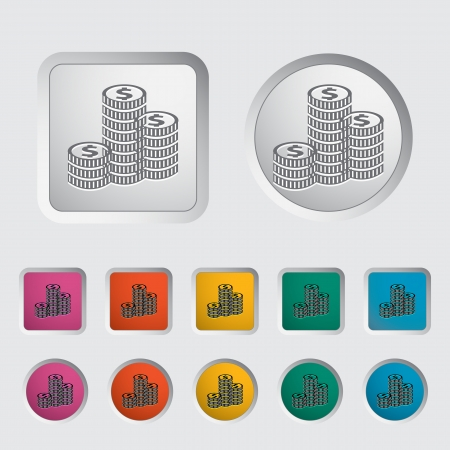 Icon coins. Vector illustration Stock Vector - 16784256