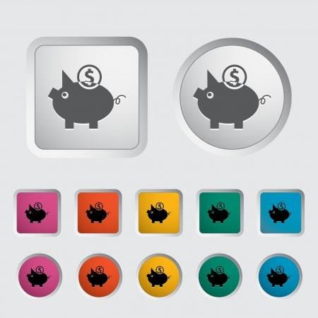 Piggy bank icon. Vector illustration. Illustration