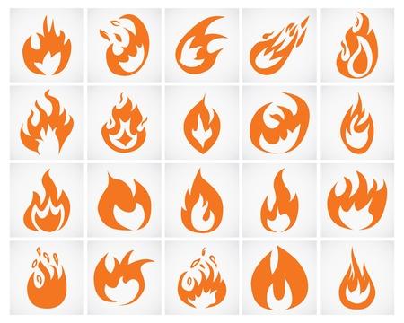 Set of various fire elements  illustration