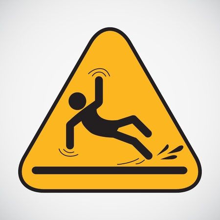 hombre cayendo: Muestra mojada del suelo de la precaución ilustración vectorial Vectores