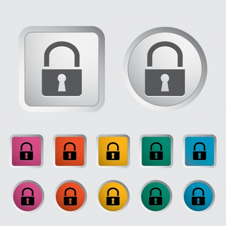 Lock single icon. Vector illustration. Stock Vector - 17304206
