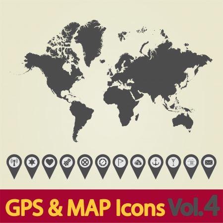 top of the world: World map icon 4 Illustration