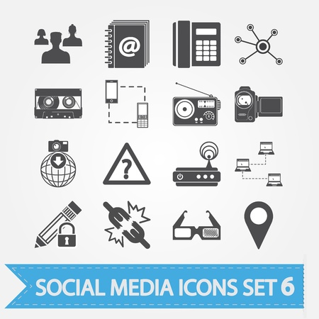 Social media icons set 6 Stock Vector - 18015341