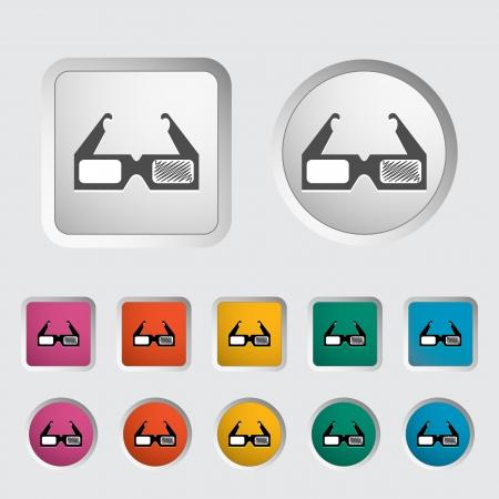 3D glasses single icon illustration  Stock Vector - 18052434