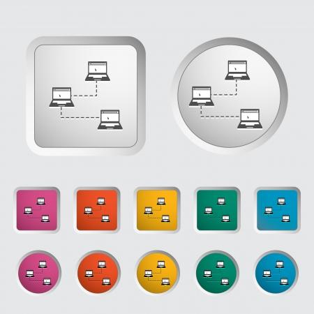 Computer network single icon  Vector illustration Stock Vector - 18052505