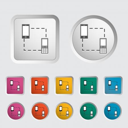 in sync: Phone sync single icon  Vector illustration