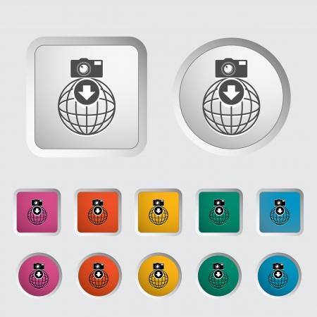 Photo download single icon  illustration  Vector