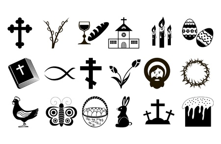 Easter Icons  Black and White  Vector illustration  Vector