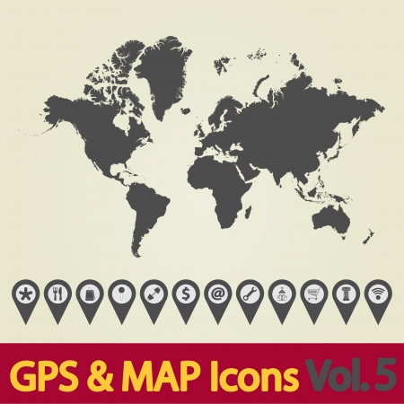 Map with Navigation Icons  Vol  5  Vector illustration  Vector