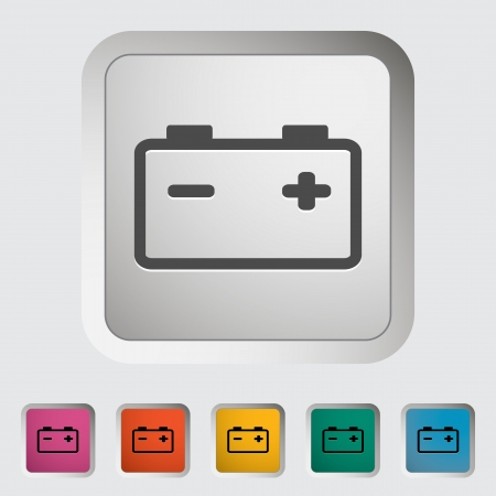 Car battery  Single icon  Vector illustration  Vectores