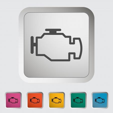 piezas coche: Engine. �nico icono. Vector ilustraci�n.