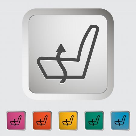 car seat: Heated set low. Single icon. Vector illustration. Illustration