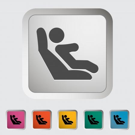 asiento: Anclajes inferiores y correas de sujeci�n para ni�os. �nico icono. Vector ilustraci�n. Vectores