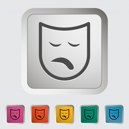 Theatrical mask  Single icon  Vector illustration  Vector