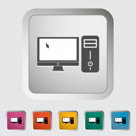 icono computadora: Icono de ordenador vector illustration EPS Vectores