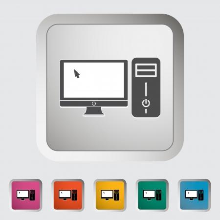 icono computadora: Icono de ordenador vector illustration EPS Vectores
