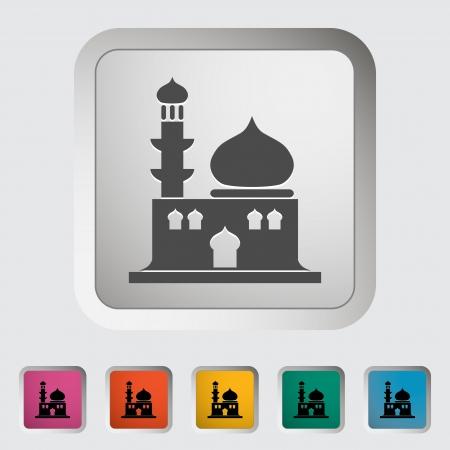 minaret: Mosque. Single icon. Vector illustration.