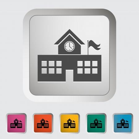 edificio escuela: Edificio de la escuela. �nico icono. Vector ilustraci�n.