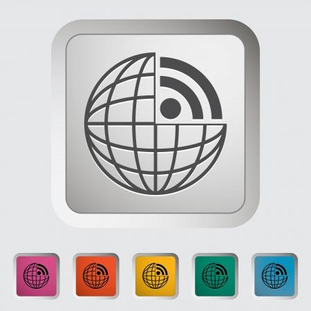 RSS. Single icon. Vector illustration. Stock Vector - 18564101
