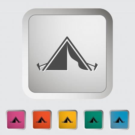 shelter: Tourist tent. Single icon. Vector illustration.