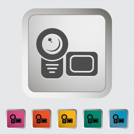 Videocamera. Single icon. Vector illustration. Stock Vector - 18563065