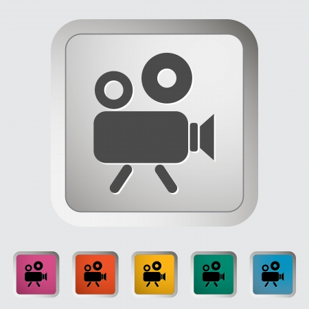 Videocamera. Single icon. Vector illustration. Vector