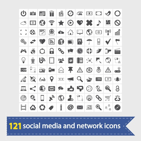 121 Social media and network icons  Vector illustration