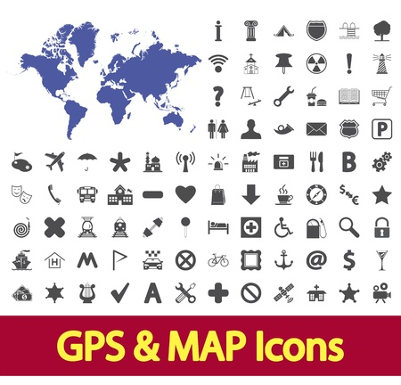 Navigation map icons set  Vector illustration