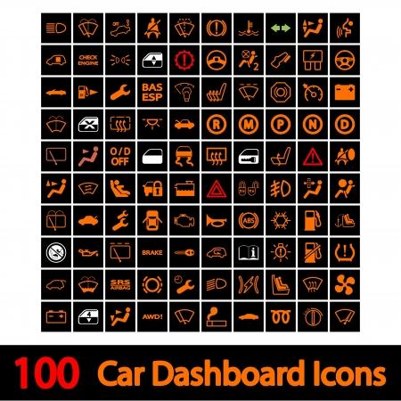 100 Car Dashboard Icons  Vector illustration