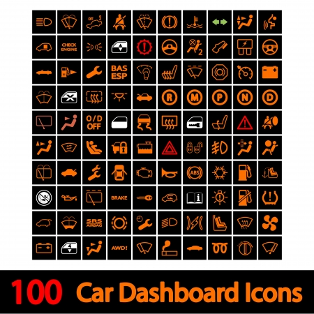 headlights: 100 Car Dashboard Icons  Vector illustration