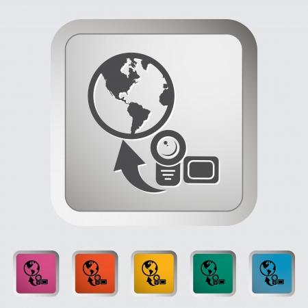 Upload video. Single icon Stock Vector - 18850196