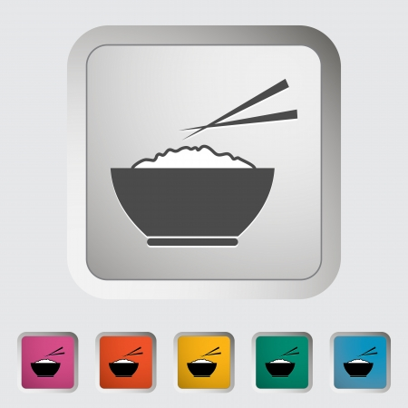 eating fast food: Rice. Single icon. Vector illustration.