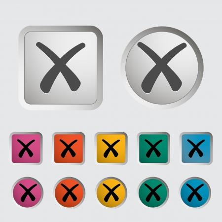 Delete button  Single icon  illustration Stock Vector - 19155343