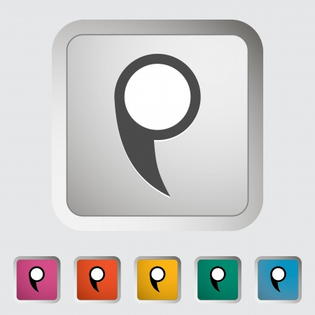 Map pin single icon. Vector illustration. Vector