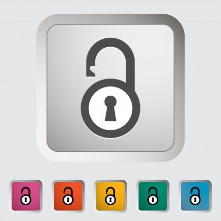 Padlock. Single icon. Vector illustration. Illustration