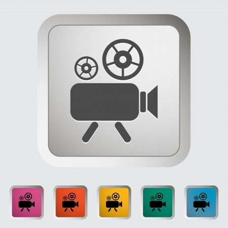 Videocamera  Single icon  Vector illustration  Vector